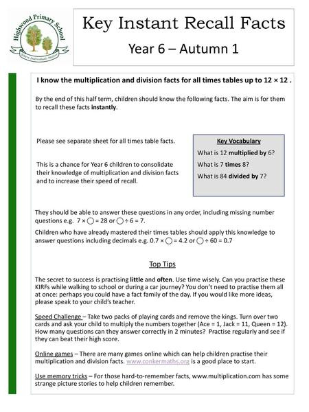 Year 6 Autumn 1 I Know The Multiplication And Division Facts For