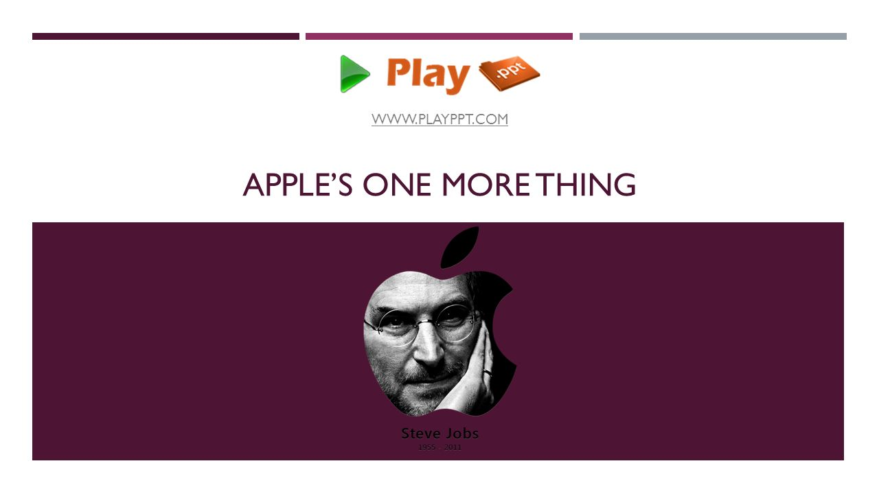 """APPLE'S ONE MORE THING STEVENOTE  Steve Jobs, former CEO of Apple used the  magic word """"One More Thing"""" to release the best products. - ppt download"""