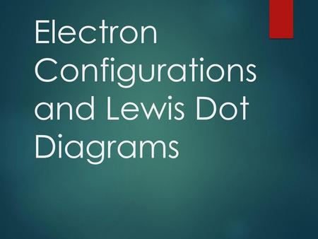 electron configurations and lewis dot diagrams