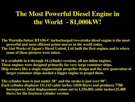 Worlds Largest Engine The Worlds Biggest Combustion Engine  The