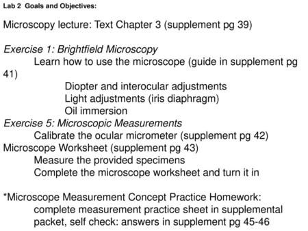 BIO130 Lab 1 Exercise 3 The Microscope - ppt download