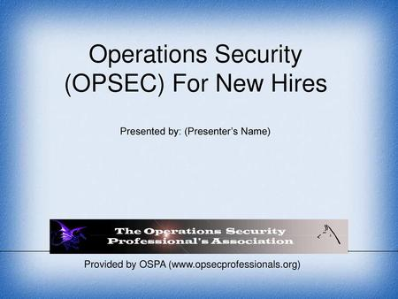 Operational Security Awareness - ppt video online download