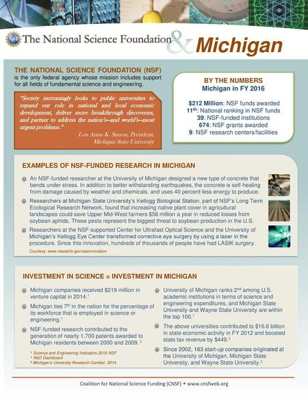 EXAMPLES OF NSF-FUNDED RESEARCH IN WEST VIRGINIA Coalition for