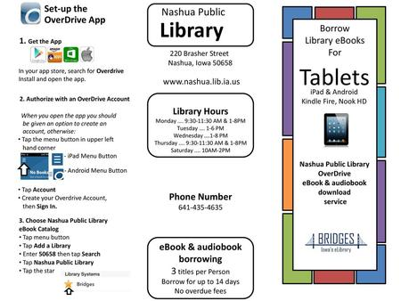 E-books, e-audiobooks, & music  On your computer, use your