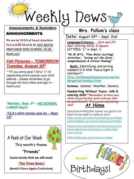 August Math Reminders Reading 22nd-26th Super Students - ppt