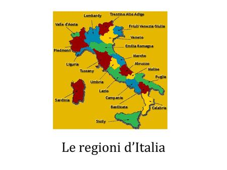 Le regioni d'Italia. Parte prima Scrivi un tema –Include the following information location population geographical features history points of interest.