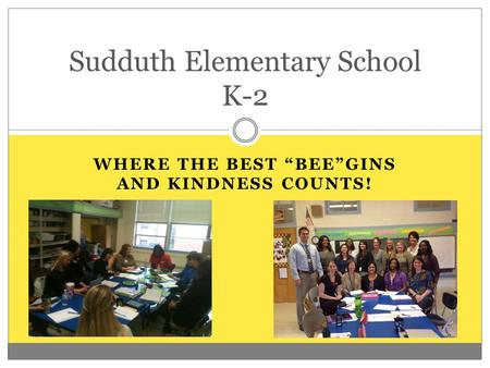 "WHERE THE BEST ""BEE""GINS AND KINDNESS COUNTS! Sudduth Elementary School K-2."