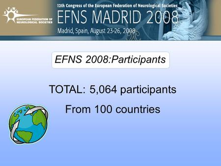TOTAL: 5,064 participants From 100 countries EFNS 2008:Participants.