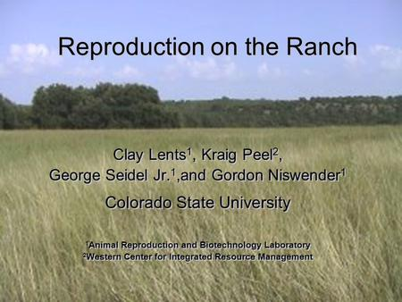 Reproduction on the Ranch Clay Lents 1, Kraig Peel 2, George Seidel Jr. 1,and Gordon Niswender 1 Colorado State University 1 Animal Reproduction and Biotechnology.