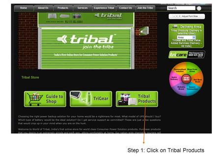 Step 1: Click on Tribal Products. Step 2: Click on Tribal Home Power Solutions.