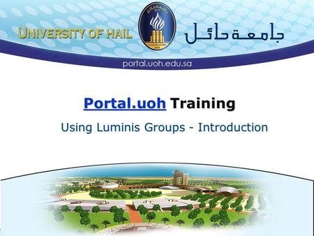 Using Luminis Groups - Introduction Portal.uoh Training.