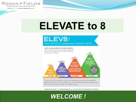 WELCOME ! ELEVATE to 8. Nothing works as quickly and powerfully as: 1.BE EXCITED! 2.Taking effective action. 3. Start talking to people and don't worry.