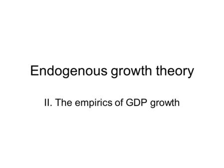 Endogenous growth theory