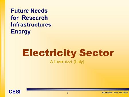 Bruxelles, June 1st, 2005 CESI 1 Electricity Sector A.Invernizzi (Italy) Future Needs for Research Infrastructures Energy.