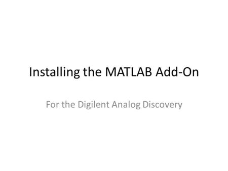 Installing the MATLAB Add-On