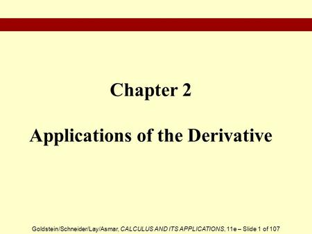 Chapter 2 Applications of the Derivative