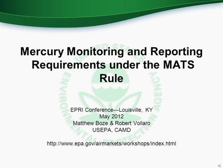 Mercury Monitoring and Reporting Requirements under the MATS Rule