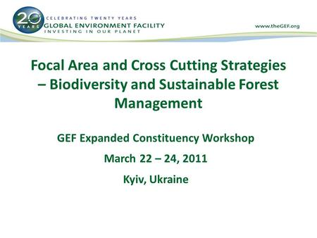 Focal Area and Cross Cutting Strategies – Biodiversity and Sustainable Forest Management GEF Expanded Constituency Workshop March 22 – 24, 2011 Kyiv, Ukraine.