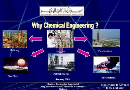 January 2003 Chemical Engineering Department King Fahd University of Petroleum & Minerals Dhahran Environment Refinery Petrochemicals Desalination Gas.