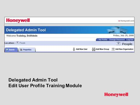 Delegated Admin Tool Edit User Profile Training Module.