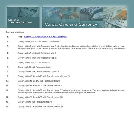 Lesson 2: Credit Cards – A Package Deal