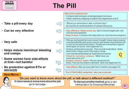 If client wants to know more about the pill, go to next page.