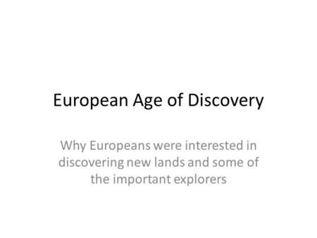 European Age of Discovery
