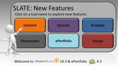 ContentQuizzesDropbox DiscussionsePortfolio Design Click on a tool name to explore new features: Welcome to 10.3 & ePortfolio 4.3 SLATE: New Features.