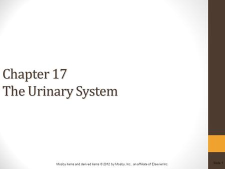 Slide 1 Mosby items and derived items © 2012 by Mosby, Inc., an affiliate of Elsevier Inc. Chapter 17 The Urinary System.
