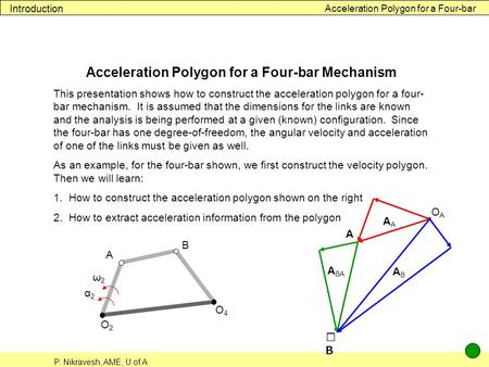 Acceleration Polygon for a Four-bar Mechanism