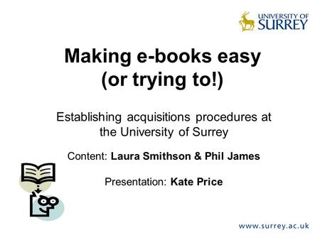 Making e-books easy (or trying to!)