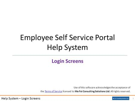 Use of this software acknowledges the acceptance of the Terms of Service licensed to Ma Foi Consulting Solutions Ltd. All rights reserved.Terms of Service.
