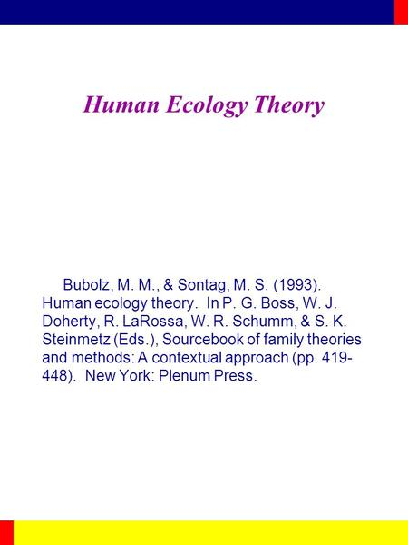 Human Ecology Theory Bubolz, M. M., & Sontag, M. S. (1993). Human ecology theory. In P. G. Boss, W. J. Doherty, R. LaRossa, W. R. Schumm, & S. K. Steinmetz.