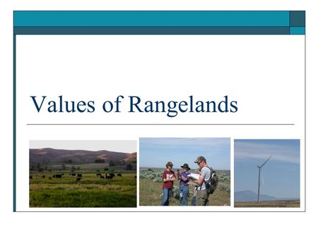 Values of Rangelands.  Define multiple use  Identify and discuss the benefits and uses of rangeland Objectives.