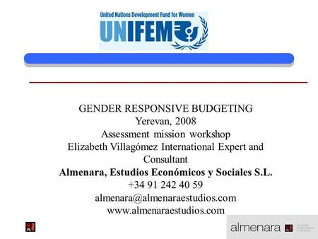 GENDER RESPONSIVE BUDGETING Yerevan, 2008 Assessment mission workshop Elizabeth Villagómez International Expert and Consultant Almenara, Estudios Económicos.