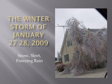 Snow, Sleet, Freezing Rain.  To make snow, the temperature must be below freezing the entire path until at the surface.  Once snow melts as it is falling,