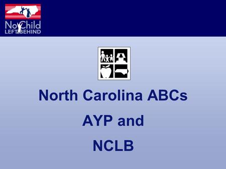 North Carolina ABCs AYP and NCLB. What Do You Know? Discuss and Share NCLB NC ABCs AYP Testing Report Cards.