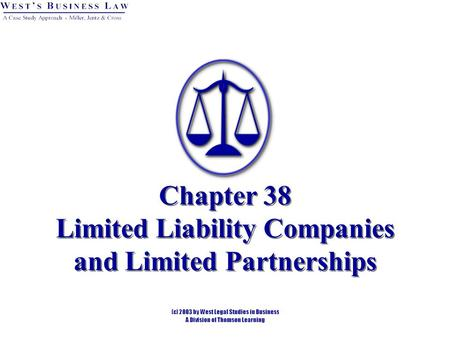 Chapter 38 Limited Liability Companies and Limited Partnerships.