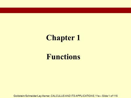Chapter 1 Functions.