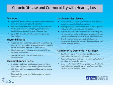 Chronic Disease and Co-morbidity with Hearing Loss