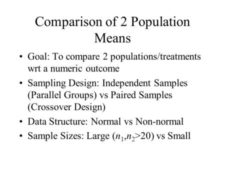 Comparison of 2 Population Means Goal: To compare 2 populations/treatments wrt a numeric outcome Sampling Design: Independent Samples (Parallel Groups)