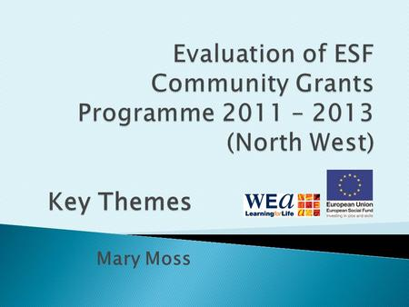 Mary Moss Key Themes.  165 grants allocated; 158 able to sustain activity  3575 participants (as recorded September 13)  98% projects surveyed rated.