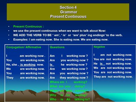 Section 4 Grammar Present Continuous