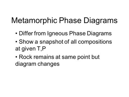 Metamorphic Phase Diagrams
