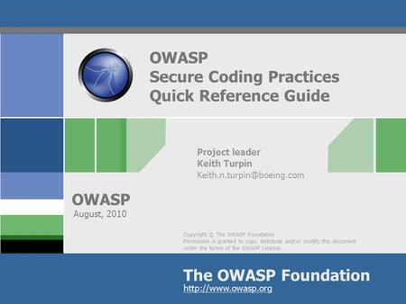 OWASP Secure Coding Practices Quick Reference Guide