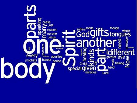 Different gifts – Same Spirit Different service – Same Lord Different working – Same God Many Parts - One Body For the common Good.