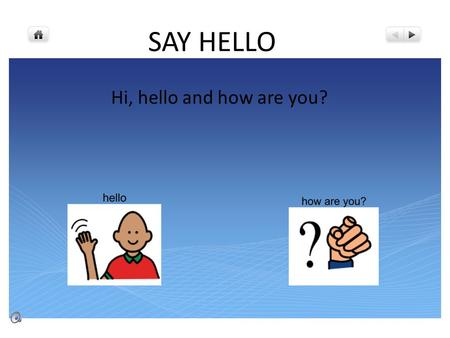 SAY HELLO Hi, hello and how are you?.