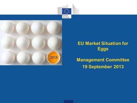 EU Market Situation for Eggs Management Committee 19 September 2013 2013.