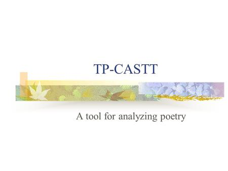 A tool for analyzing poetry
