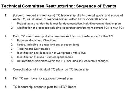 Technical Committee Restructuring: Sequence of Events 1.(Urgent, needed immediately) TC leadership drafts overall goals and scope of each TC, i.e. division.
